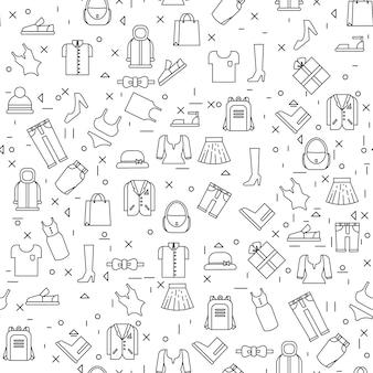 Odzieżowe rzeczy na białym tle bezszwowego wzoru cienka linia