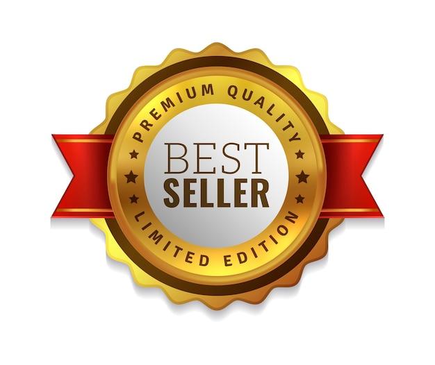 Odznaka bestsellera. premium złoty emblemat, luksusowa oryginalna i najwyższej jakości odznaka produktu, oferta sprzedaży złota, okrągły element dekoracyjny promocji z czerwoną wstążką realistyczną ilustracją wektorową na białym tle