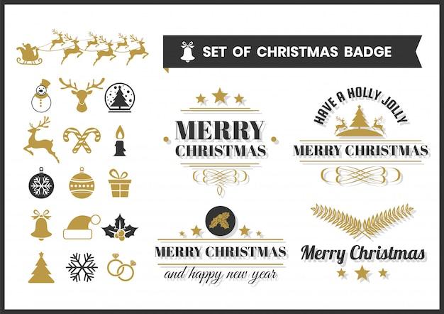 Odznaka christmas retro vector i elementy zestawu