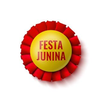 """Odznaka czerwono-żółta. ozdoba z nazwą festiwalu brazylijskiego. ilustracja. """"festa junina"""" - festiwal czerwcowy."""
