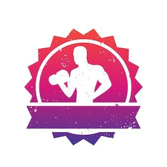 Odznaka fitness z pozującym sportowcem, kulturystą, logo siłowni na białym