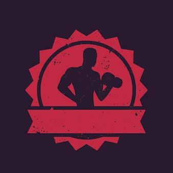 Odznaka fitness z pozującym sportowcem, kulturystą, logo siłowni