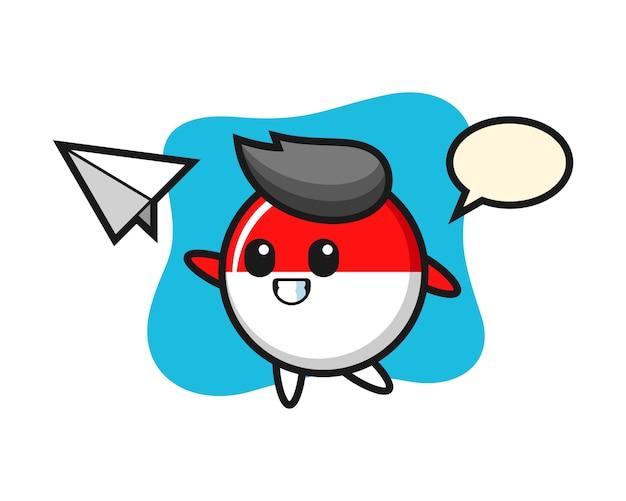 Odznaka flaga indonezji postać z kreskówki rzucanie papierowego samolotu
