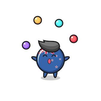 Odznaka flagi nowej zelandii cyrk kreskówka żonglująca piłką, ładny styl na koszulkę, naklejkę, element logo