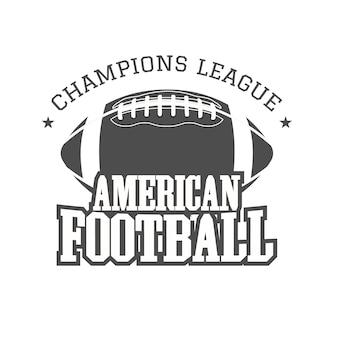 Odznaka futbolu amerykańskiego, logo, etykieta, insygnia w stylu retro. nadruk monochromatyczny na białym tle na ciemnym tle.