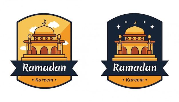 Odznaka godła islamskiego świętego święta ramadan kareem
