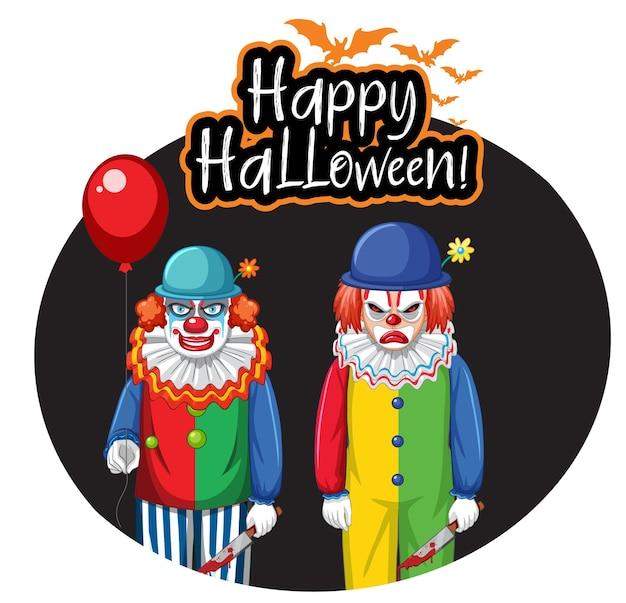 Odznaka happy halloween z dwoma przerażającymi klaunami