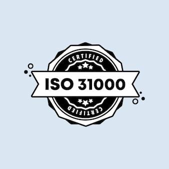 Odznaka iso 31000. wektor. ikona pieczęć iso 31000. certyfikowane logo odznaki. szablon pieczęci. etykieta, naklejka, ikony.