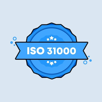 Odznaka iso 31000. wektor. ikonę pieczęci standardowego certyfikatu iso 31000. certyfikowane logo odznaki. szablon pieczęci. etykieta, naklejka, ikony. wektor eps 10. na białym tle