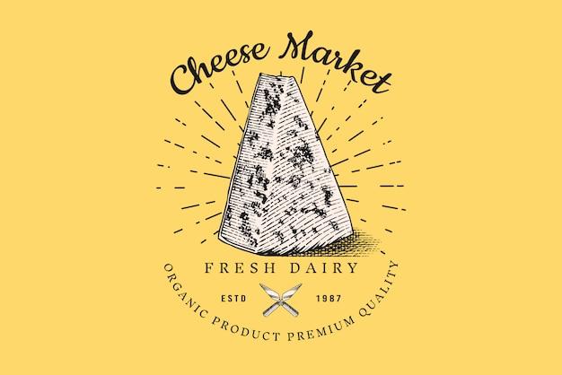 Odznaka kawałek sera. vintage logo dla rynku lub sklepu spożywczego.