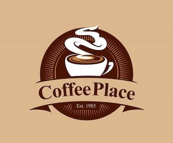 Odznaka kawiarnia w stylu vintage