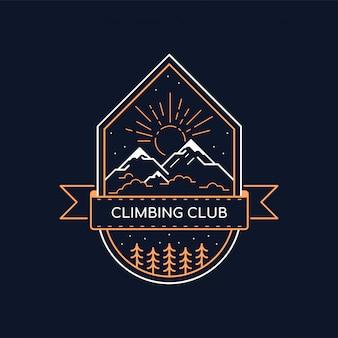 Odznaka klubu wspinaczkowego. ilustracja linii. godło trekkingu górskiego i pieszych wędrówek