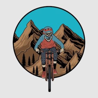 Odznaka kolarstwa górskiego wektor zjazd, etykieta z jeźdźcem na rowerze. ilustracja zjazdowa