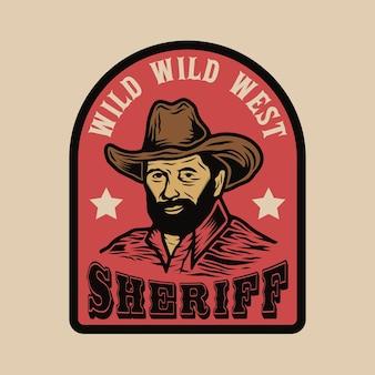 Odznaka kowboja szeryfa dzikiego zachodu