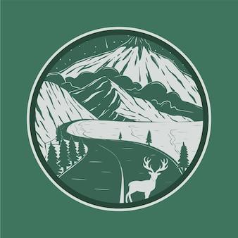 Odznaka krajobrazowa i ilustracja wektorowa panoramy