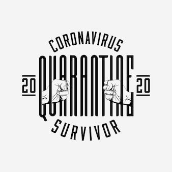 Odznaka kwarantanny coronavirus 2020 lub szablon etykiety lub logo z kompozycją liter i sylwetki dłoni trzymającej słowo kwarantanny jak więzień za kratami. ilustracja