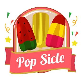 Odznaka ładny kolorowy popsicle