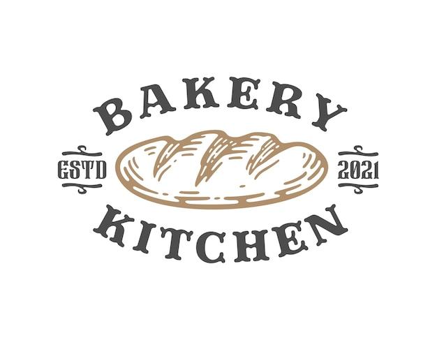 Odznaka logo projektowania chleba na białym tle