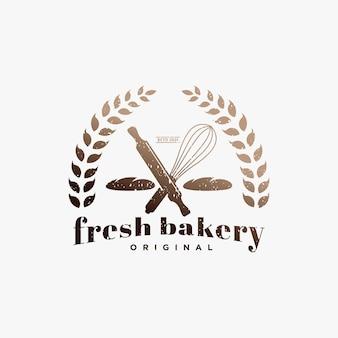Odznaka logo retro vintage piekarnia i etykieta wektora świeżych piekarni logo design, ciasta i różne chleby