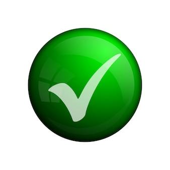 Odznaka lub ikona zielony znacznik wyboru, element koncepcyjny. szklany przycisk. zielony kolor. nowoczesna ikona znacznika wyboru lub znak do użytku w internecie, interfejsie użytkownika, aplikacjach i grach.