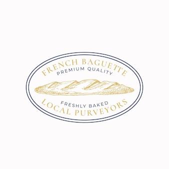 Odznaka lub szablon logo z francuską bagietką