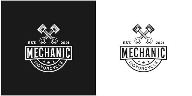 Odznaka mechanika w stylu retro wektor premium