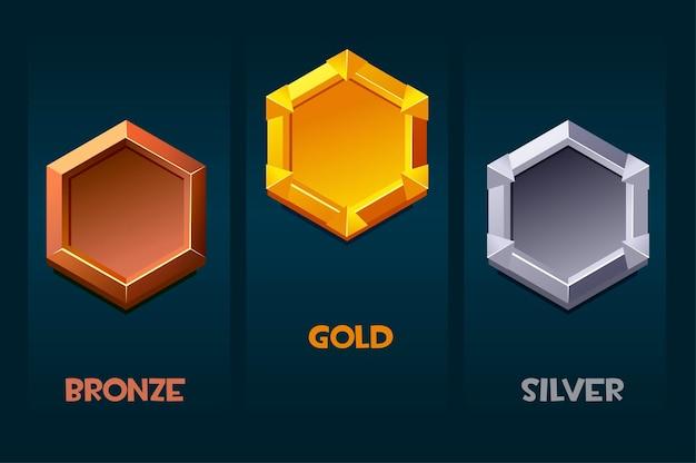 Odznaka nagrody za zasoby gry, puste szablony medalionów dla interfejsu użytkownika. ilustracja wektorowa zestaw emblematów złota, srebra, brązu.