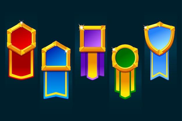 Odznaka nagrody za zasoby gry, różne formy medalionu ze wstążką dla interfejsu użytkownika.