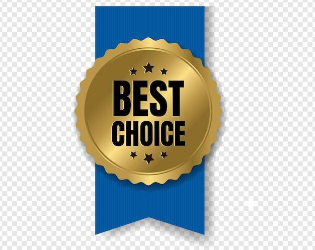 Odznaka najlepszego wyboru ze wstążką i przezroczystym tłem z gradientową siatką,