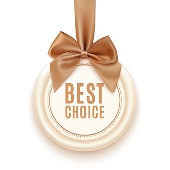 Odznaka najlepszego wyboru ze złotą wstążką i kokardką