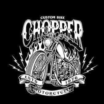 Odznaka niestandardowy motocykl chopper rower wektor