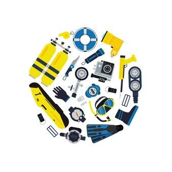 Odznaka podwodne koło nurkowe koncepcja w stylu płaskiej