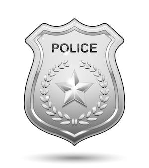 Odznaka policyjna na białym tle
