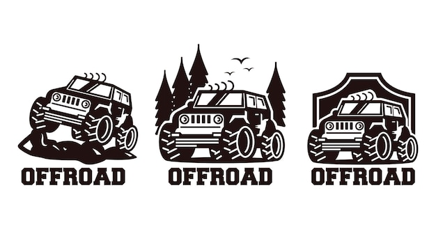 Odznaka projekt logo retro jeep off-road