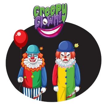 Odznaka przerażającego klauna z dwoma przerażającymi klaunami