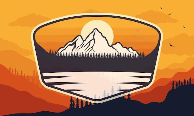 Odznaka przygody jeziora z lasem