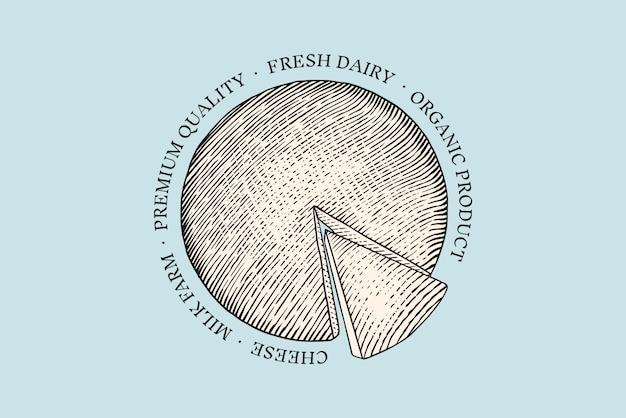 Odznaka sera. vintage logo dla rynku lub sklepu spożywczego. świeże mleko organiczne.