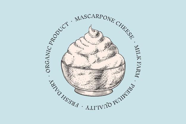 Odznaka sera. vintage logo mascrapone na rynek lub sklep spożywczy. świeże mleko organiczne.