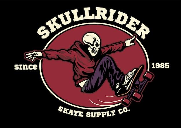 Odznaka skateboardera z czaszką w projekcie koszulki