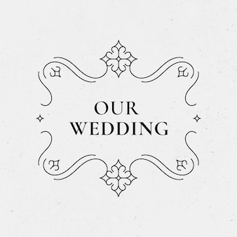 Odznaka ślubna wektor vintage ozdobny styl