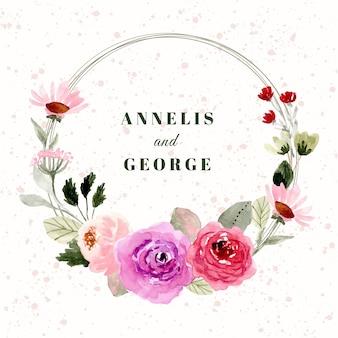 Odznaka ślubna z pięknym wieńcem akwareli kwiatowych