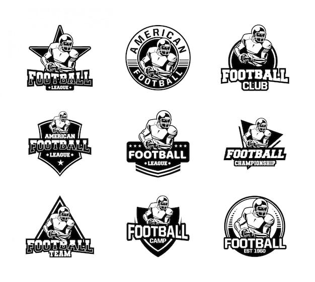 Odznaka sportowa futbol amerykański w czarno-białym kolorze