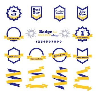 Odznaka sprzedaż i wstążki do sklepu internetowego, koncepcja transparent firmy