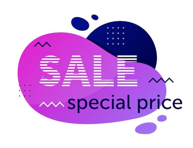 Odznaka sprzedaży geometrycznej oferuje specjalną cenę na białym tle