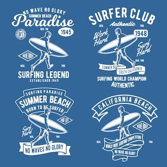 Odznaka surfingu w stylu retro