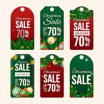 Odznaka świąteczna sprzedaż i tag realistyczny wygląd
