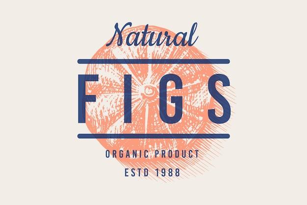 Odznaka świeża figa. etykieta lub logo liści owoców. wytnij kawałki. przyprawa do detoksykacji.