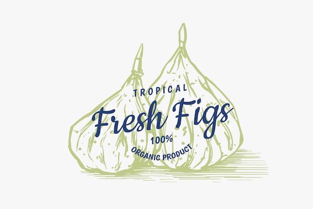 Odznaka świeża figa. etykieta lub logo liści suszonych owoców. przyprawa do detoksykacji.