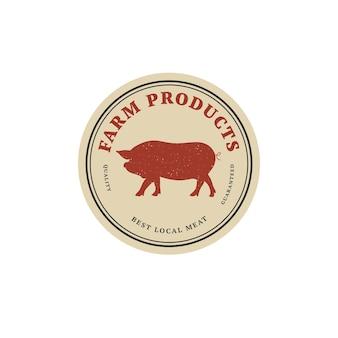 Odznaka szablon liniowy projekt wektor lub etykieta - świnia hodowlana. streszczenie symbol produktów mięsnych lub rzeźni.