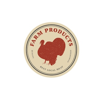 Odznaka szablon liniowy projekt wektor lub etykieta - turcja gospodarstwa. streszczenie symbol produktów mięsnych lub rzeźni.